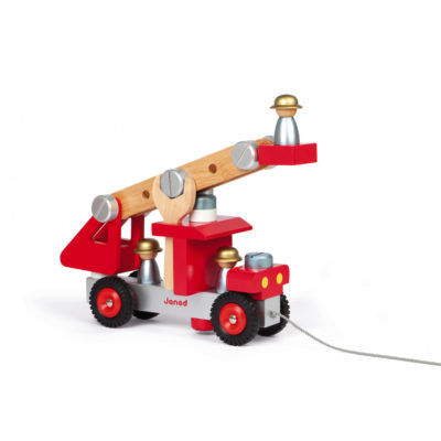Toy wooden fire engine