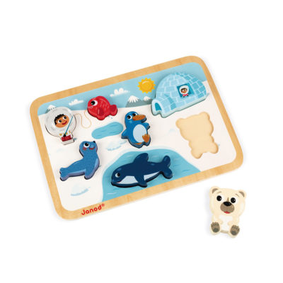 Chunky wooden polar puzzle