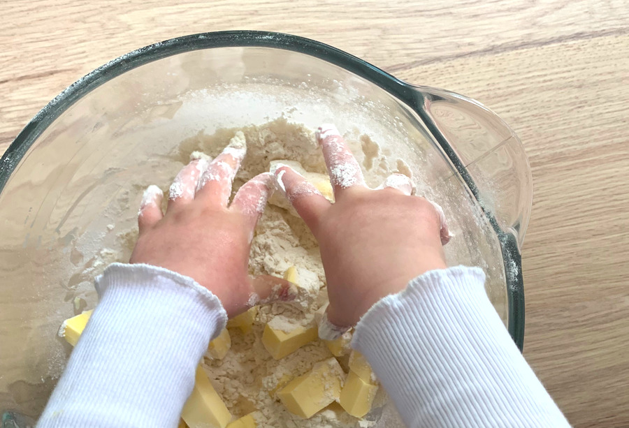 Baking with kids mixing
