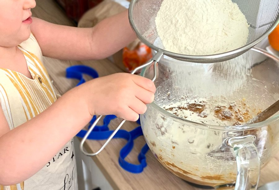 Baking with kids sifting
