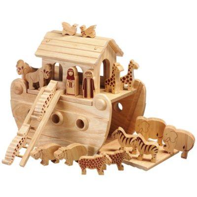 Wooden Noah's Ark and Animals
