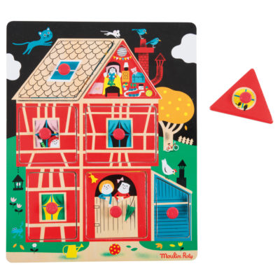 Home Sweet Home Wooden Peg Puzzle From Moulin Roty With A Single Piece Removed