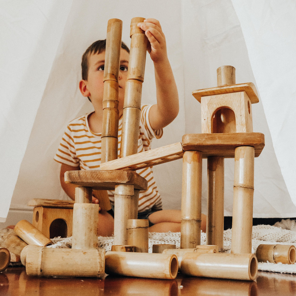 Bamboo Building Set with Houses Boy Playing