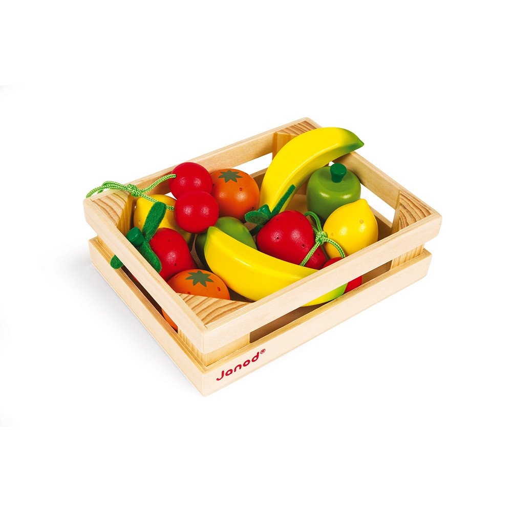 Crate of 12 Wooden Fruit