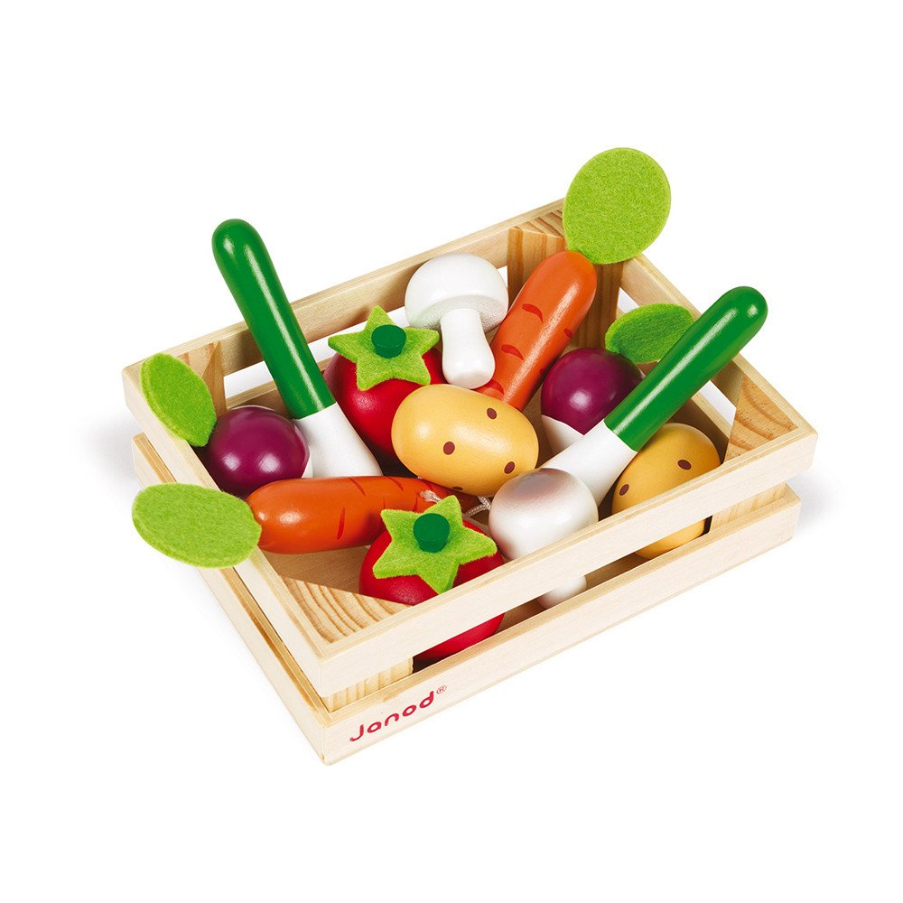 Crate of 12 Wooden Vegetables