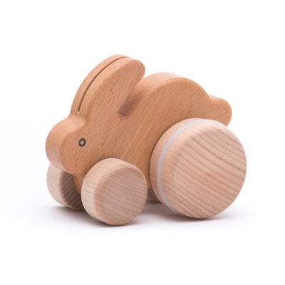 Natural Wooden Push Along Rabbit