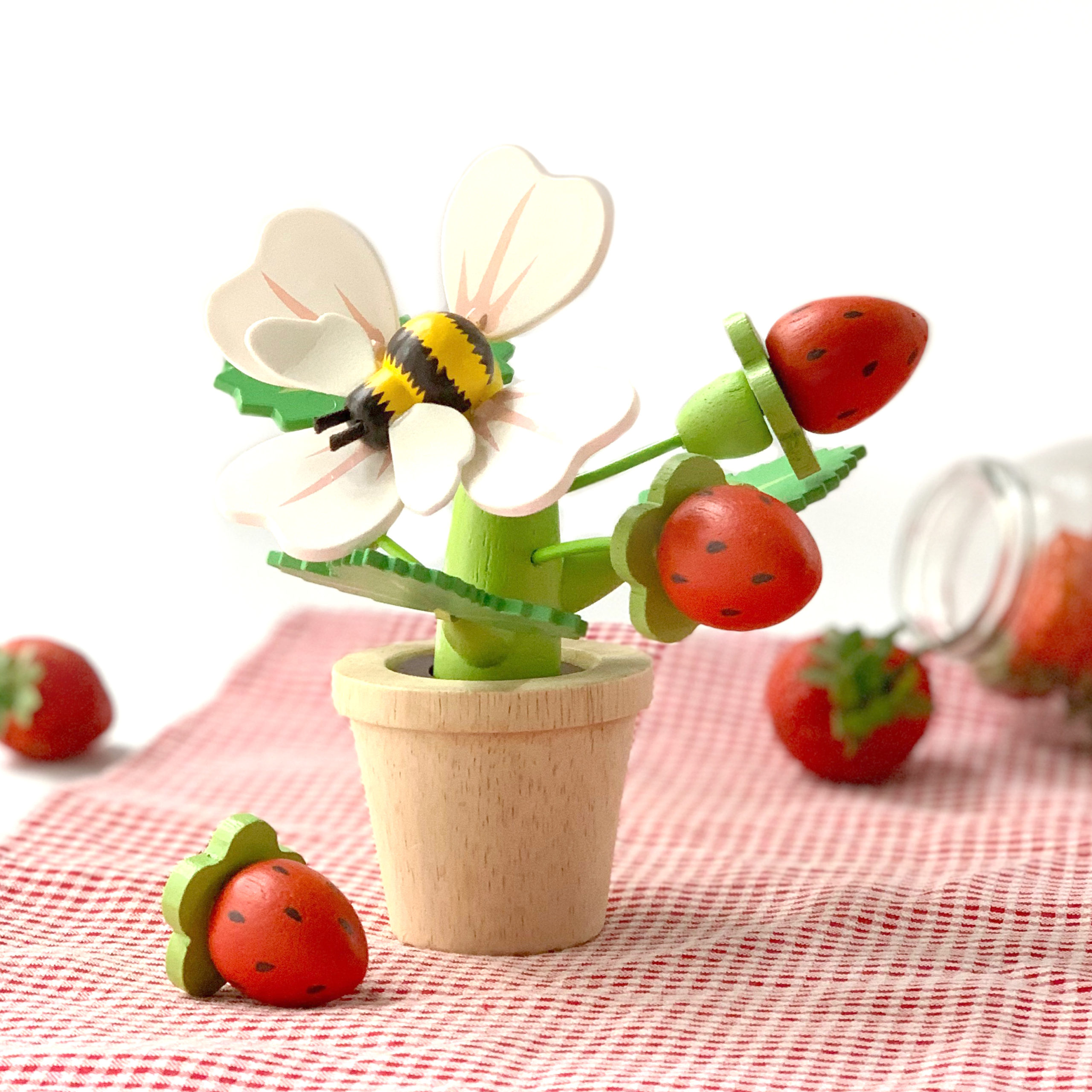Strawberry Flower Pot on table cloth