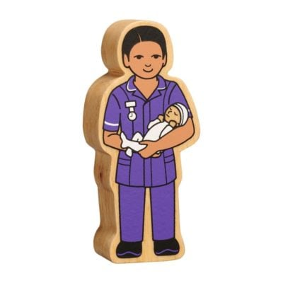 Wooden Midwife Figure