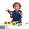 Child playing with space race set