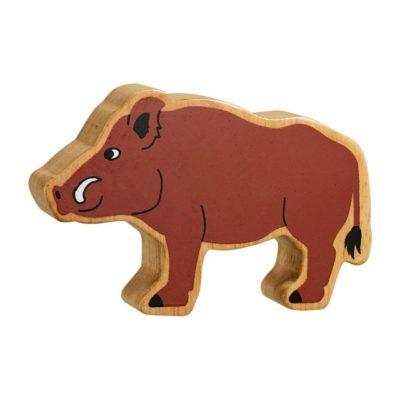 brown wild boar wooden figure
