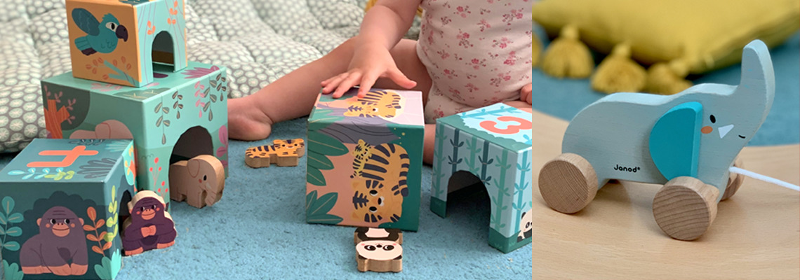 Stacking blocks and Pull Along Elephant from Janod