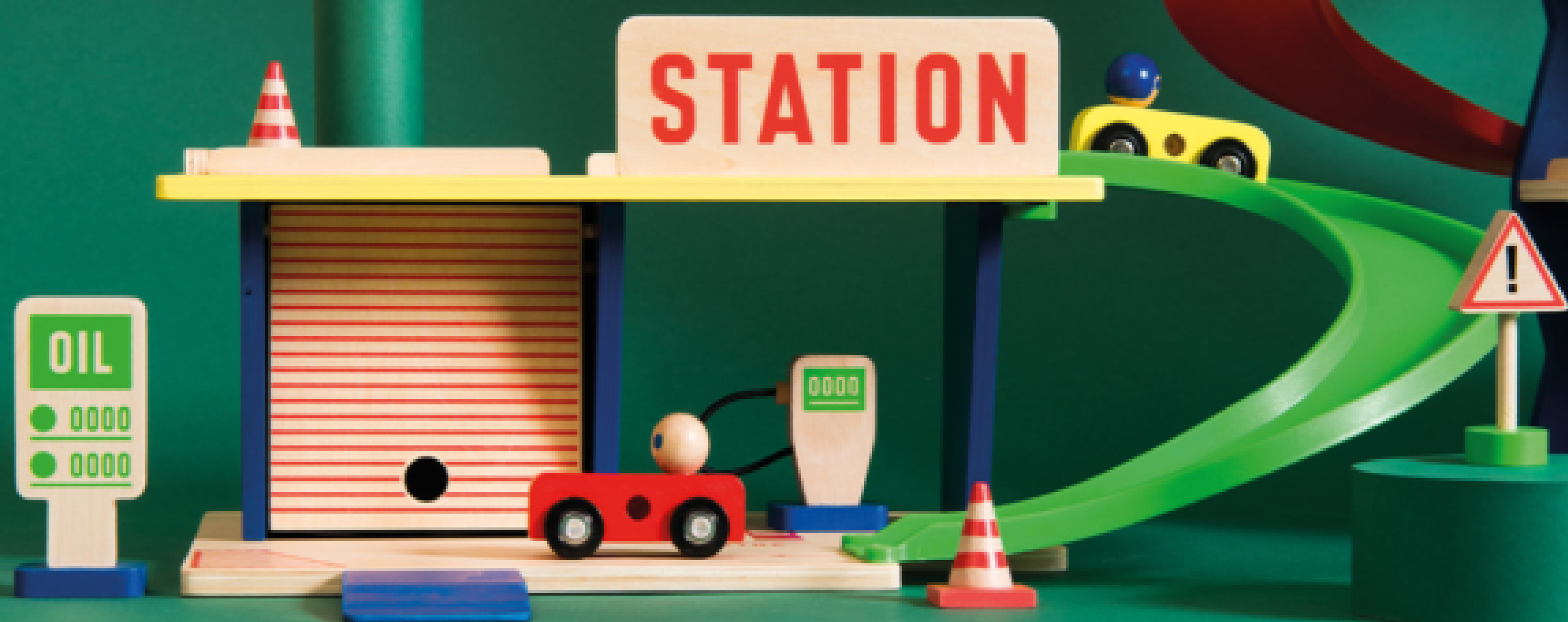 image shows a toy gas station