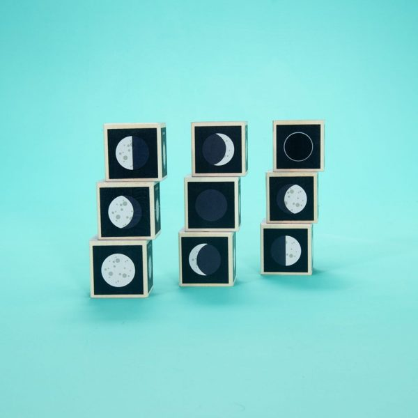 Wooden Moon Phase Blocks showing different phases of the moon