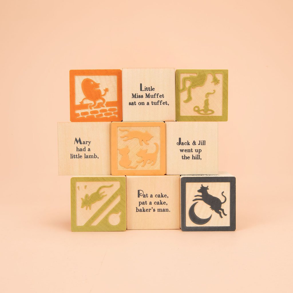 Wooden Nursery Rhyme Blocks showing rhymes and images