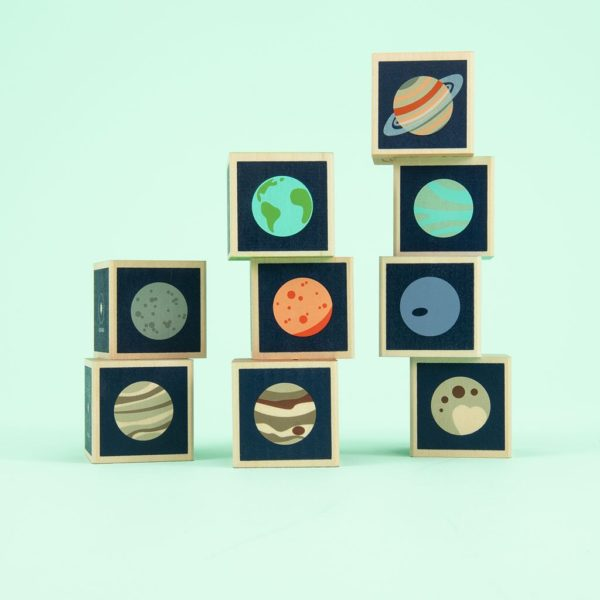 Wooden Planet Blocks Stack