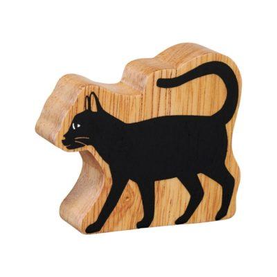 image shows a wooden black cat figure