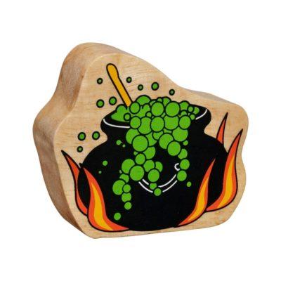 image shows a black cauldron wooden figure