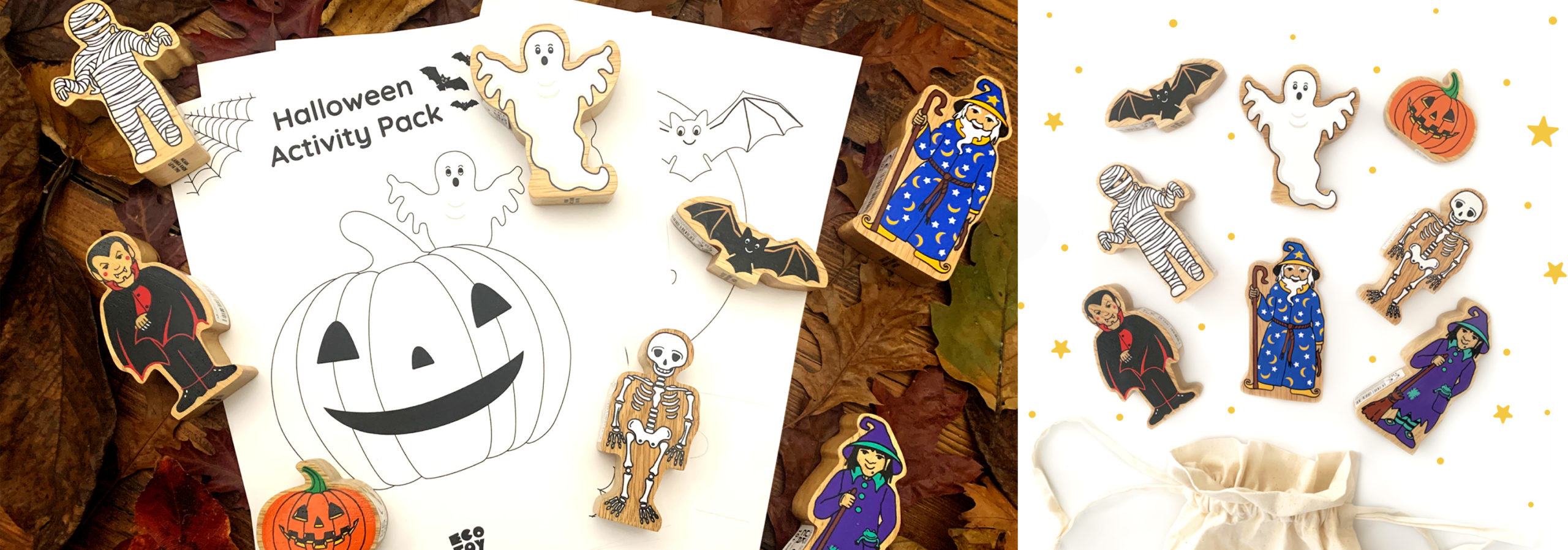 photo shows a free halloween activity pack and wooden halloween figures