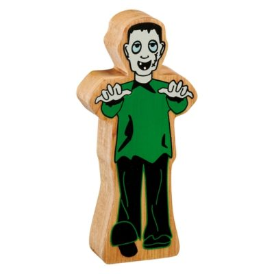 image shows a wooden monster figure with arms outstretched