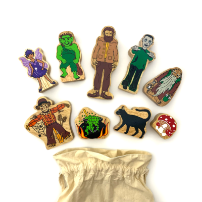 image shows 9 mythical wooden figures and a bag