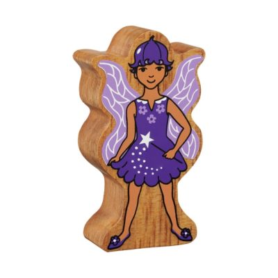 image shows a purple wooden fairy figure